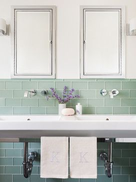Prospect St Traditional Bathroom Glass Tile Trimmed With Glass