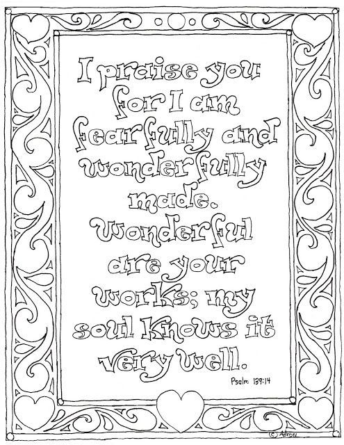Fearfully And Wonderfully Made Christian Coloring Coloring