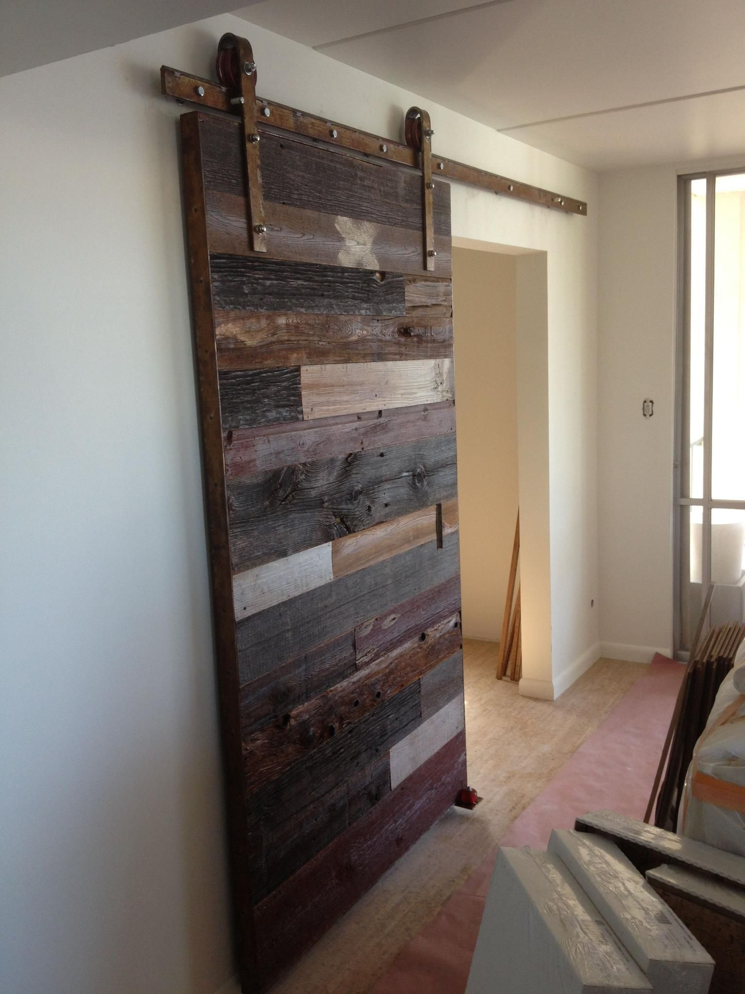 Love this rustic sliding door around the house for Barn door closet door ideas