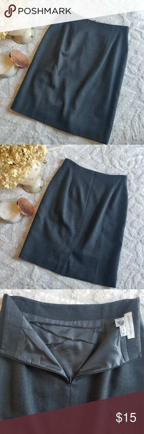 a6399a5820 Charcoal Grey Wool Pencil Skirt Jones New York Pencil Skirt 100% wool skirt  with lining Back Zipper and slit Marked Size 10, but measures to size 6 in  ...