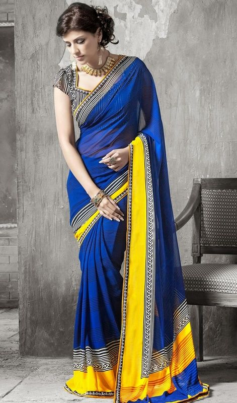 Be your diverse trend diva with this blue shade faux georgette saree. This stunning attire is showing some amazing embroidery done with lace work. #NewDesignCasualSaree