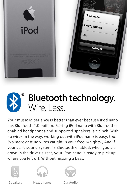 Bluetooth technology. Wire. Less. Apple's iPod Nano