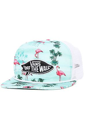 The Pink Flamingo Trucker Hat in Blue Atoll Flamingo by Vans ... a8e05f0ca2d