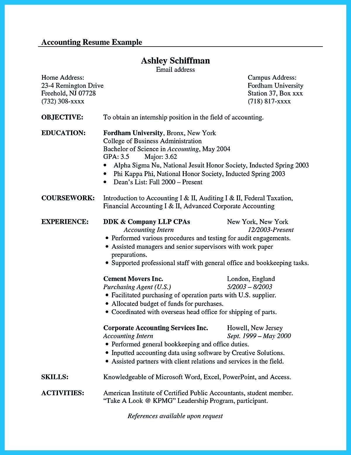 30 Accounting Intern Resume Samples In 2020 With Images Resume