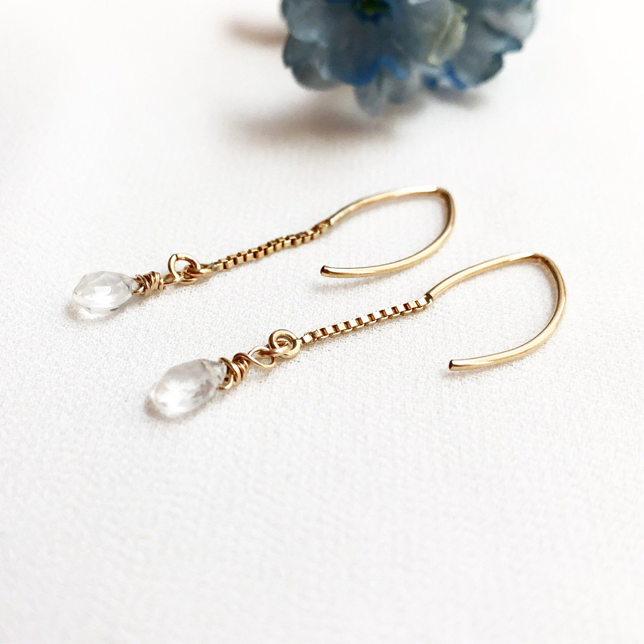 Photo of Gemstone earrings, moonstone earrings, April birthstone earrings, wedding party gifts, bridesmaid jewelry, office equipment, delicate jewelry