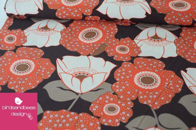 Stoff Blumen - Auntie`s Attic braun-apricot CANVAS by R. Kaufman - ein Designerstück von birdsandbees-design bei DaWanda