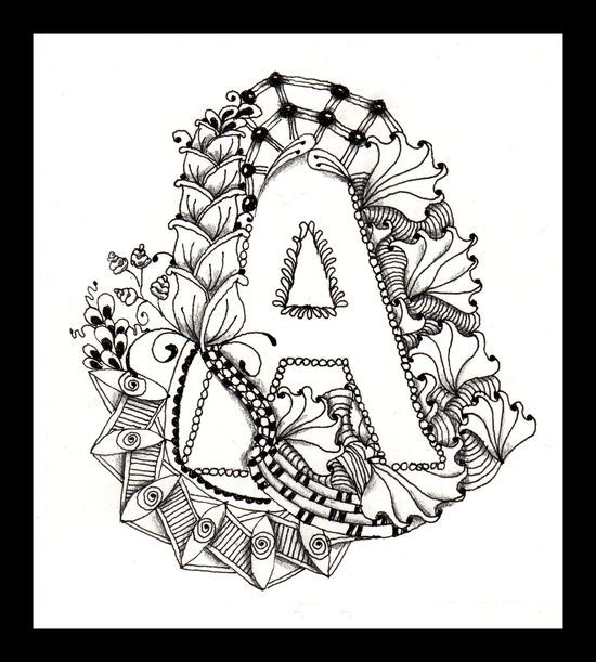 Zentangle Alphabet Pages Coloring Pages