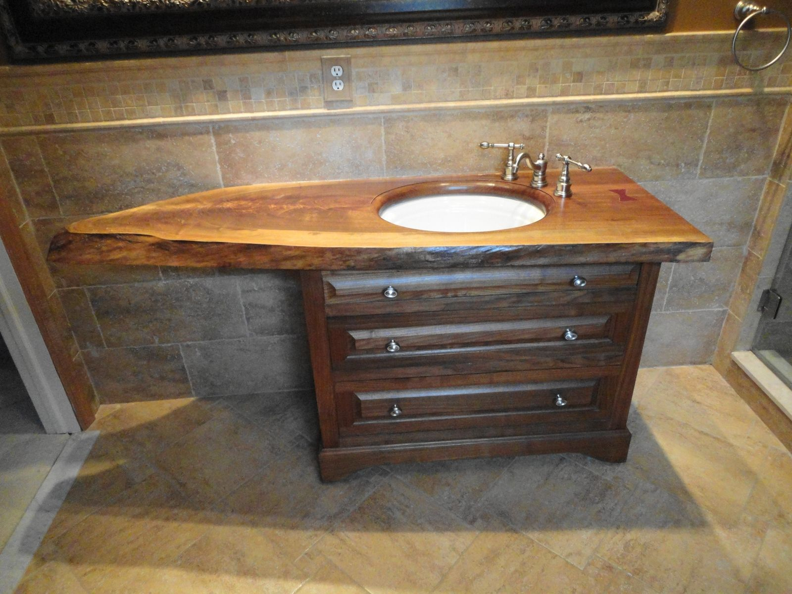 Image Detail For Custom Slab Top Walnut Vanity By Oak Mountain Woodwork
