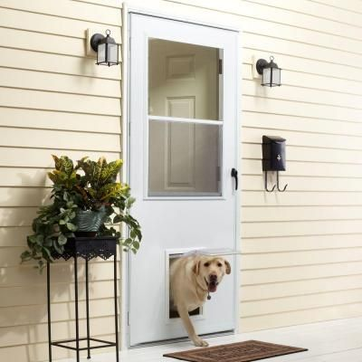 Emco 32 In X 80 In K900 Series White Vinyl Self Storing Pet Storm Door With Black Hardware K900 32wh Storm Door Best Storm Doors Dog Door