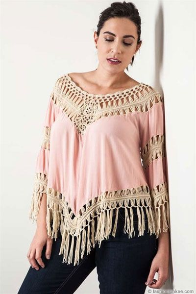 913bfb7e028 Plus Size Fringe Boho V-Neck 3 4 Sleeve Crochet Tunic Top-Blush Pink ...