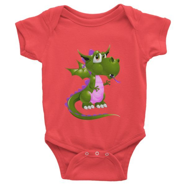 Draco Green Purple Infant Organic Short Sleeve One-Piece