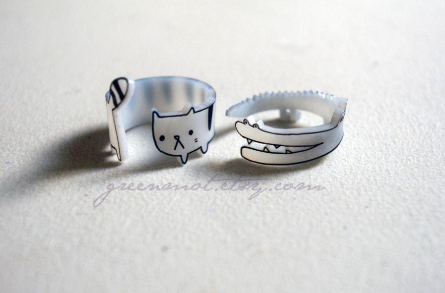 Cute wraparound cat ring via etsy shrink plastic