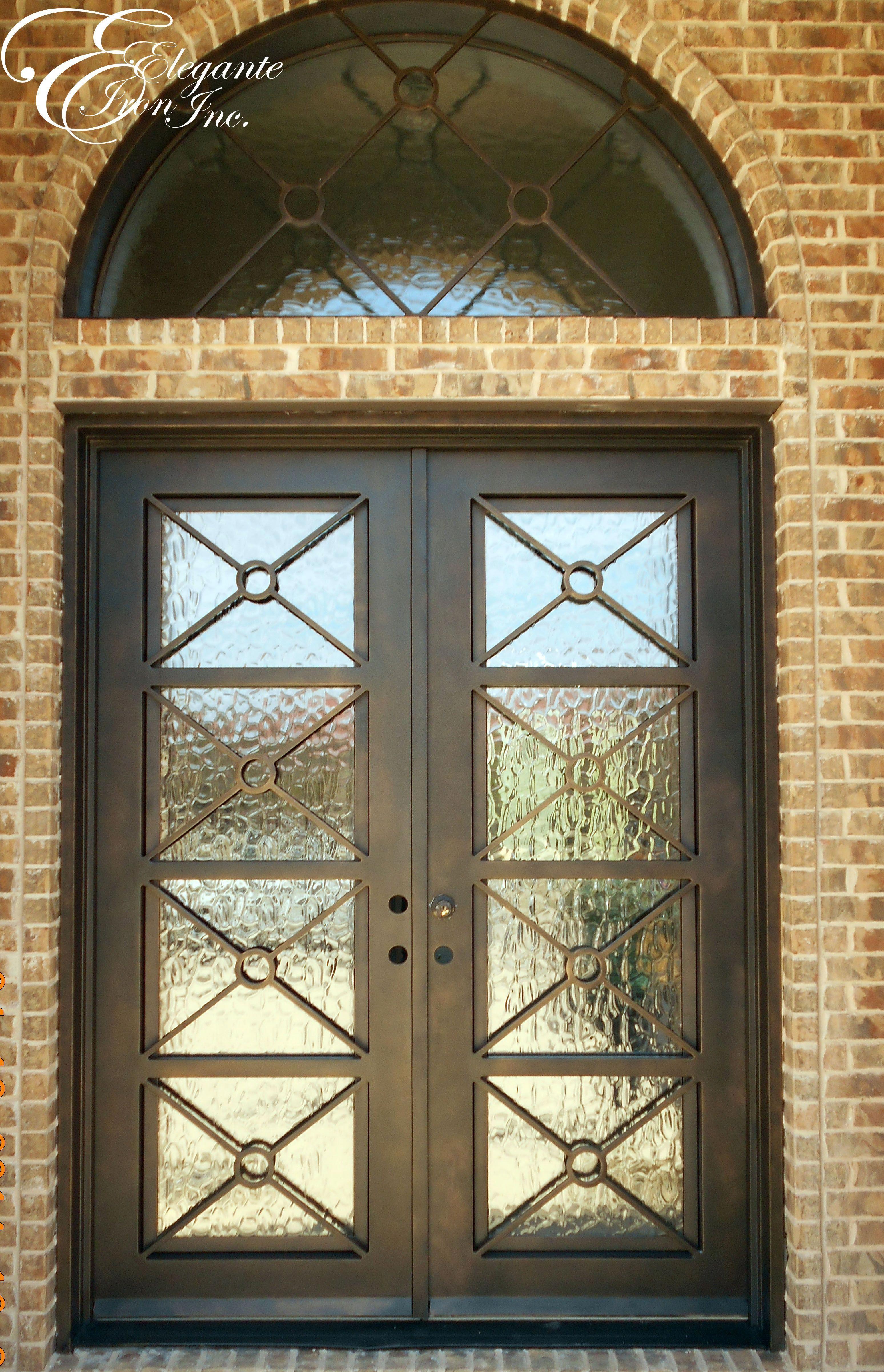Custom Iron Front Door With Arched Transom Interiorbarndoorfarmhousestyle Iron Front Door Wrought Iron Doors Front Entrances Wrought Iron Doors