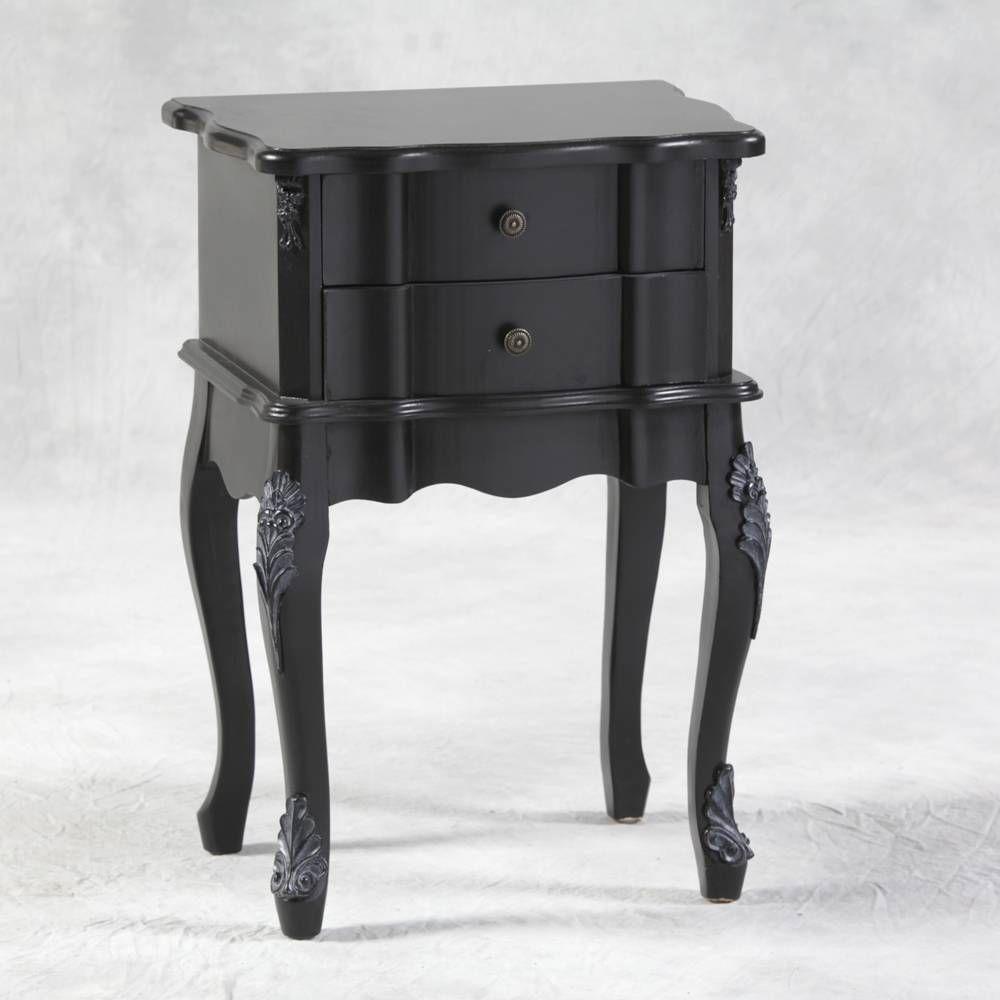 Matt Black French Chateau Gothic Ornate Boudoir Bedside Table Side