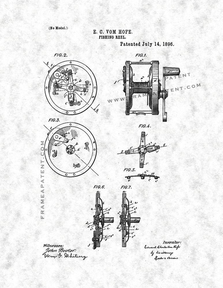 Fishing Reel Patent Print Gunmetal Parchment With Border 5x7