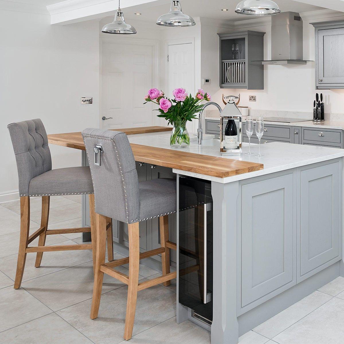 20 Ideas For Grey Kitchens Both: Barrington Oak Stool Grey Fabric