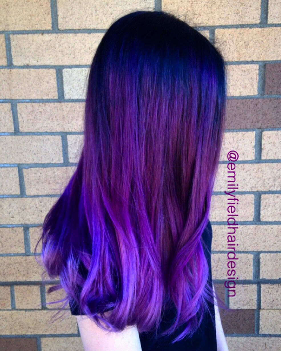 Bright Purple Hair Faded Purple Ends Black Roots Color Melt Color Correction By Emily Field Bright Purple Hair Purple Hair Hair