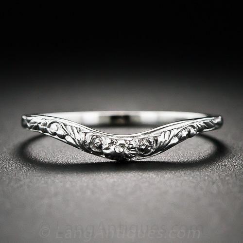 Lang Collection Floral Motif Contoured Wedding Band Vintage Wedding Jewelry Contour Wedding Band Diamond Engagement Rings Vintage