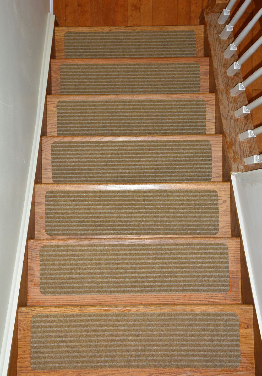 Stair Treads Collection Set Of 13 Indoor Skid Slip Resistant Brown | 30 Inch Carpet Stair Treads | Sided Tape | Bullnose Wraparound | Machine Washable | Greek Key | Non Skid