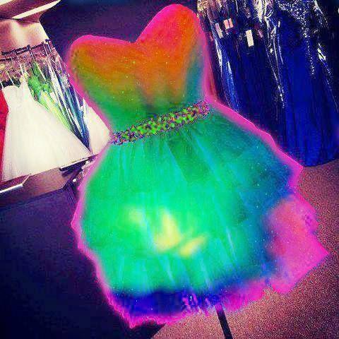 vestido corto color neon