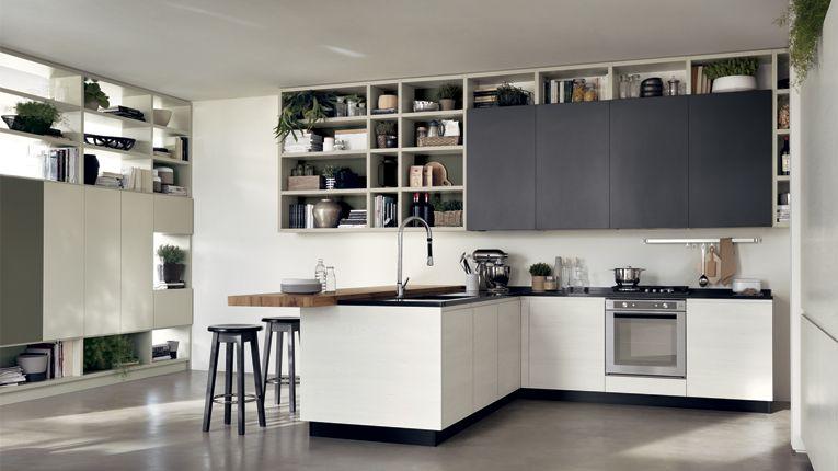 cucina motus scavolini legno e grigio | cucina | pinterest | open ... - Cucine Bianche E Grigie Scavolini
