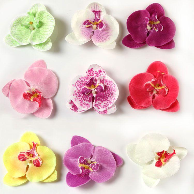 Hot Sale Fashion Baby Girls Hair Accessories Moth Orchid Flower Silk Decoration Flower With Clip Headbands 9 Col Orquideas Phalaenopsis Orquideas Flores Em Eva