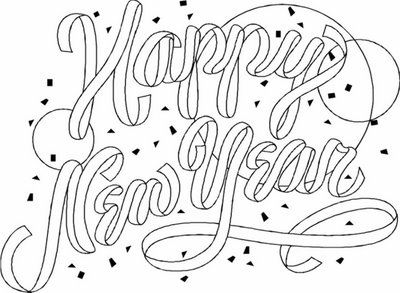 Greeting Card Happy New Coloring Pages