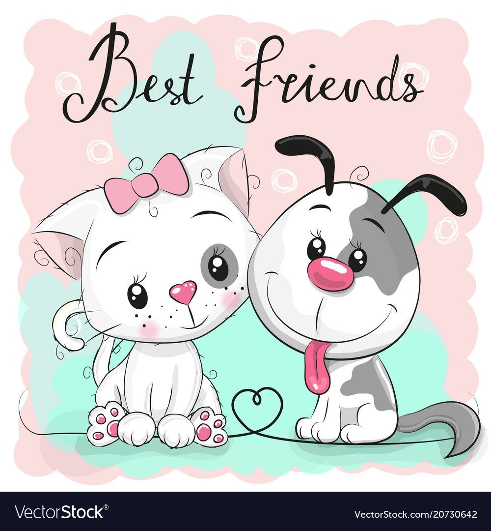 Cute Cat And Dog On A Pink Background Vector Image On With Images
