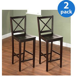 Virginia Cross Back Stool 24 Quot Set Of 2 Espresso Our