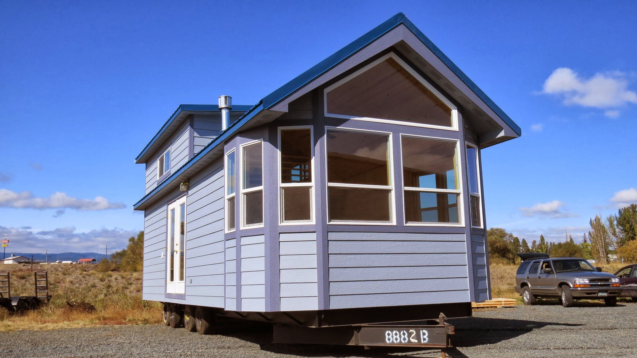 This is a park model tiny house on wheels called the Tillamook