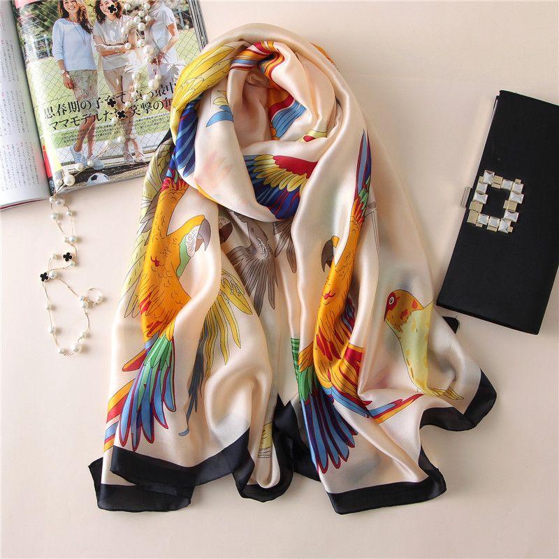 Silk scarf Women shawls long print wraps pashmina ladies Scarves beach stoles