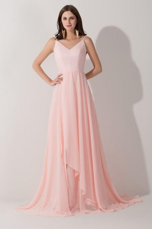 Long V-neck Elegant Prom Dress 2016 Chiffon sleeveless Evening Gowns ...