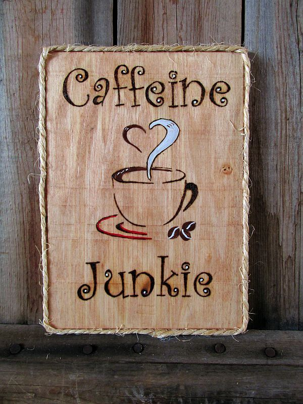caffeine junkie coffee rectangle sign quote wood wall hanging signs sayings handpainted wooden signs with quotes