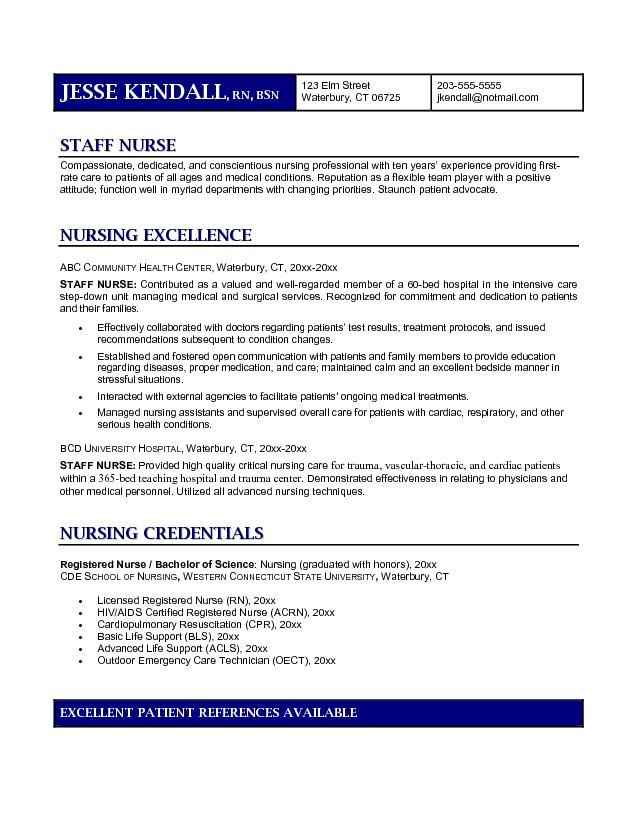 sample resume for staff nurse experience maternity format page new - Nurse Resume Objective