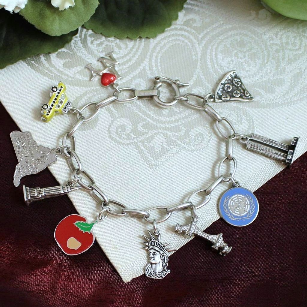 5d1ae46d5a254 Sterling New York Theme Charm Bracelet With 10 Vintage Sterling ...