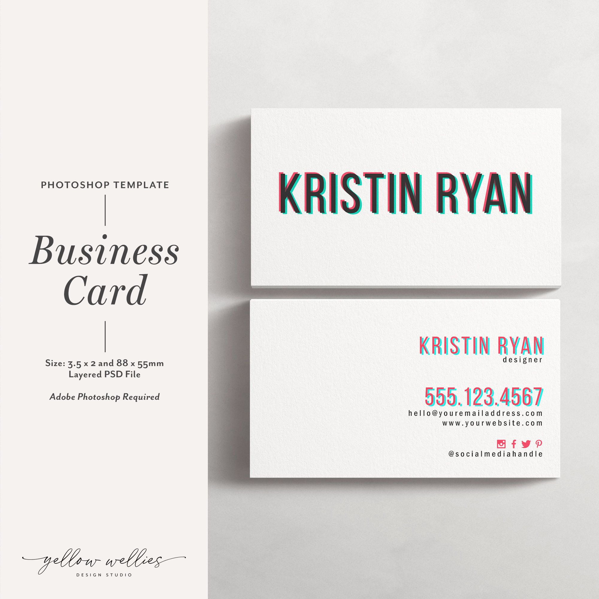 photoshop template business card instant download