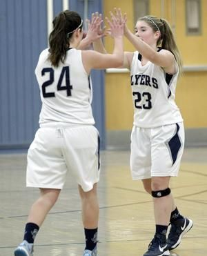 Framingham S Melissa Renauld Right Celebrates With Leah Douty After Douty Hit A Jump Shot To Give The Flyers A 13 High School Sports Basketball Girls Natick