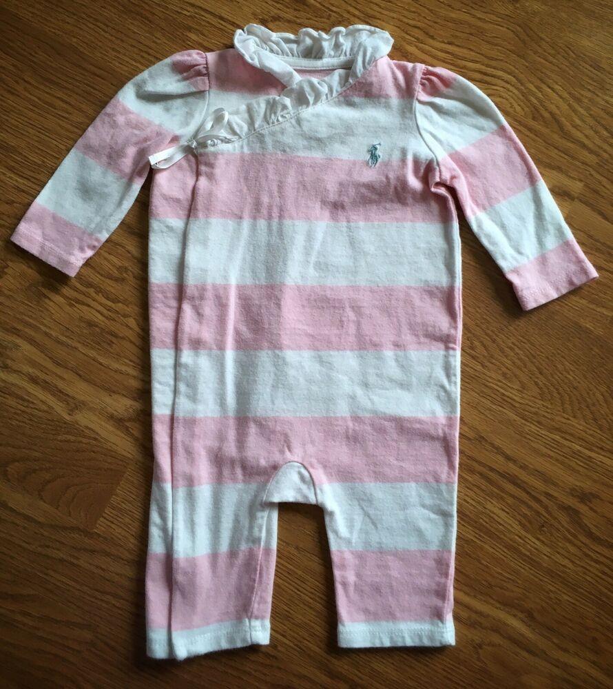 Baby girls RALPH LAUREN one-piece romper size 5 mos pink white