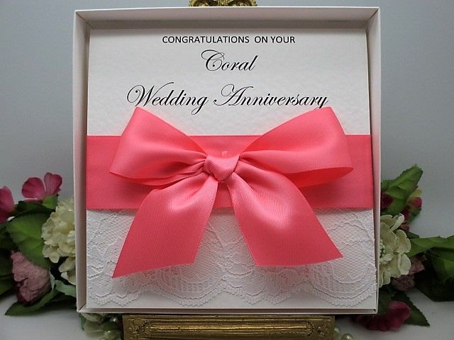 Cor35a boxed lace satin coral wedding anniversary card 35 years