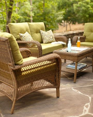 Charlottetown Wicker Woven Loveseat, Chair, and Coffee ... on Martha Stewart Wicker Patio Set id=58386
