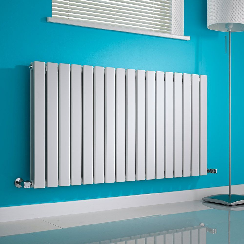 Milano Alpha - White Horizontal Double Slim Panel Designer Radiator ...