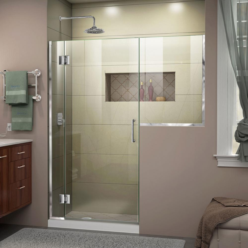 Dreamline Unidoor X 59 To 59 5 In X 72 In Frameless Hinged Shower Door In Chrome D1292436 01 The Home Depot Frameless Hinged Shower Door Shower Doors Black Shower Doors