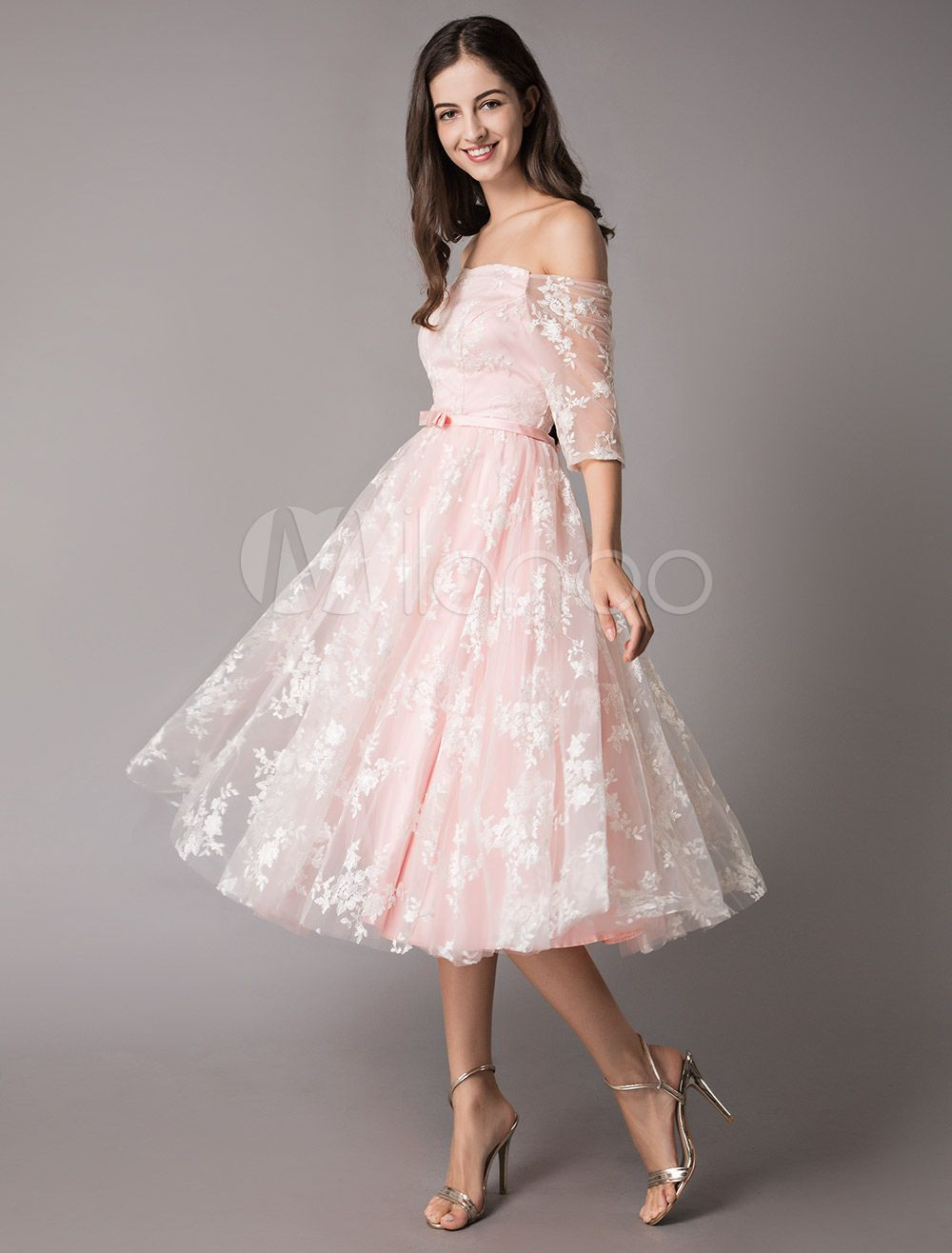 55aa4124f3a45 Lace Cocktail Dresses Off The Shoulder Soft Pink Half Sleeve Short ...