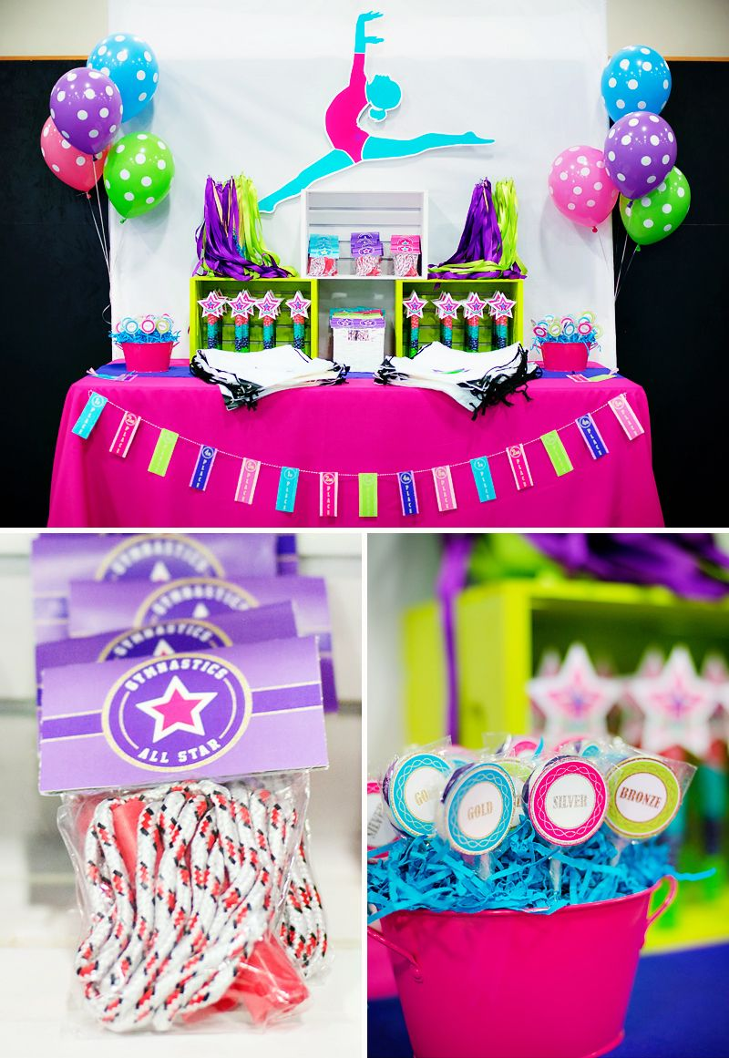 Gymnastics Birthday Party Decorations Bright Coloful Gymnastics Birthday Party Birthdays Gymnastics