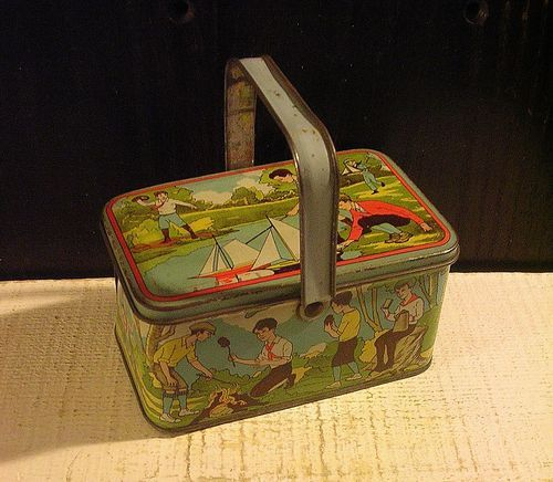 13c0de438b0a Vtg Tin Lunch Box c1920 Boys Play Outdoors Sports Boy Scout Tin ...
