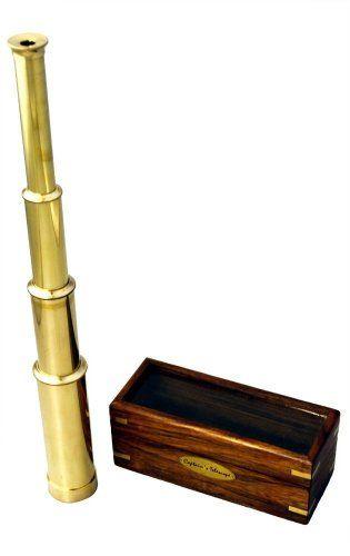 "BRASS TELESCOPE 15/"" IN WOODEN BOX ~ TELESCOPE ~ PIRATE ~ NAUTICAL SPYGLASS"