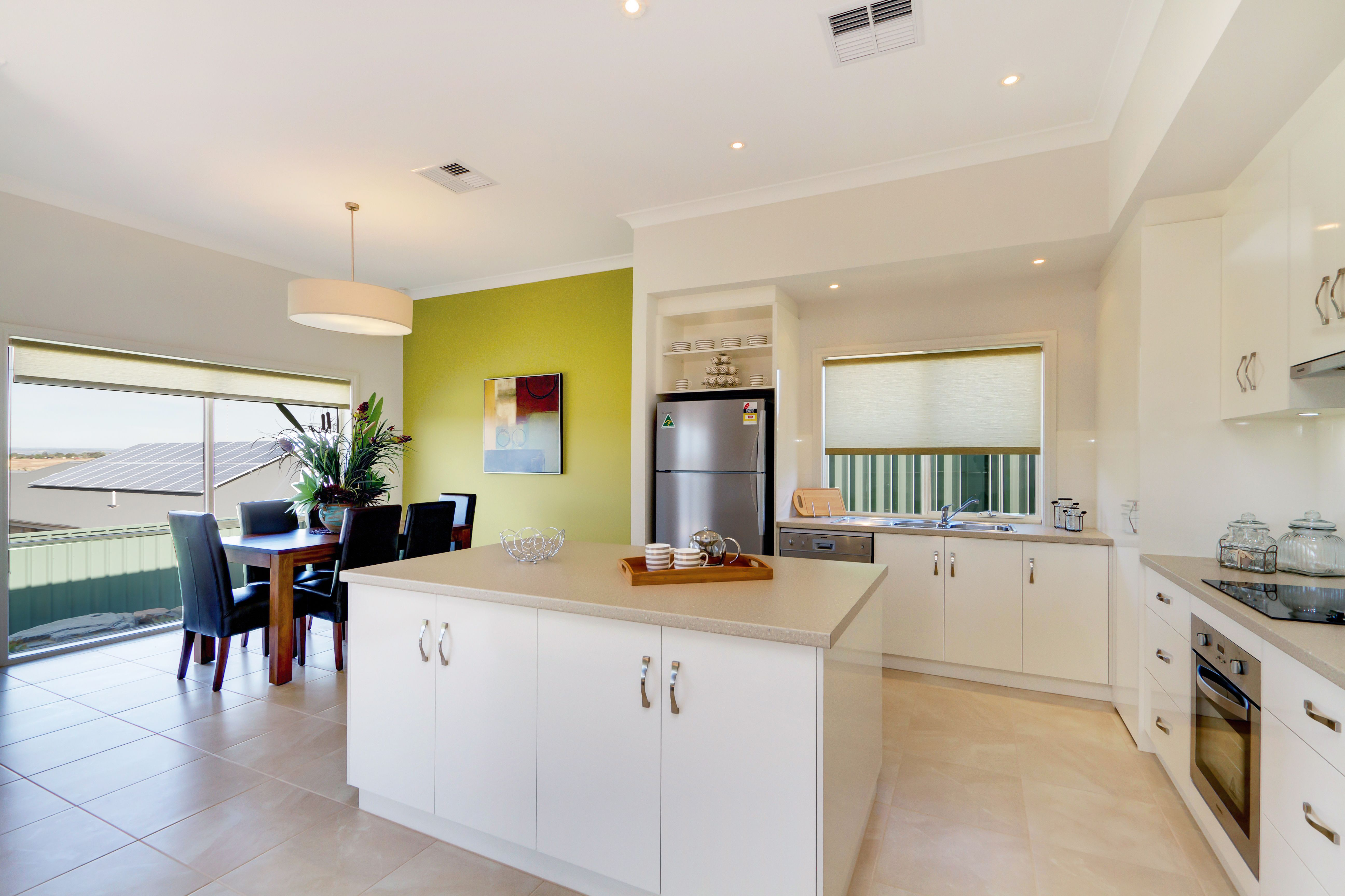 Excellent natural light in the kitchen and dining areas.