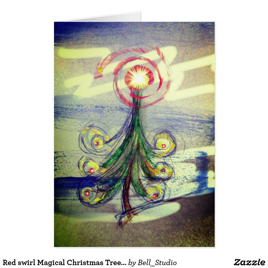 Red Swirl Magical Christmas Tree Greeting Card Magical Christmas