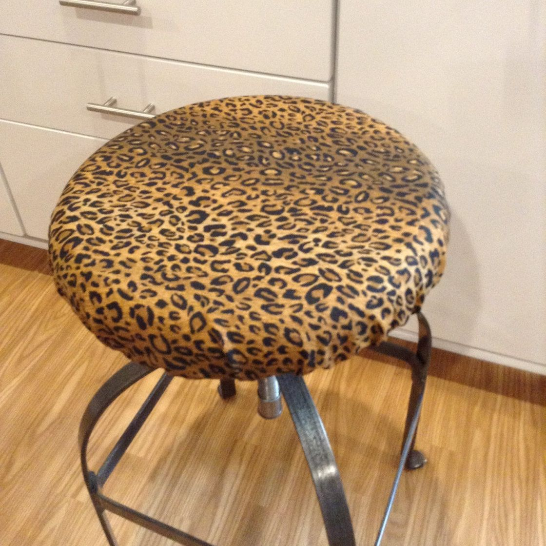 Elasticized Round Barstool Cover Counter Stool Leopard Print Brown With Balck Washable Cotton Fabric Kitchen Pad By Brittaleighdesigns