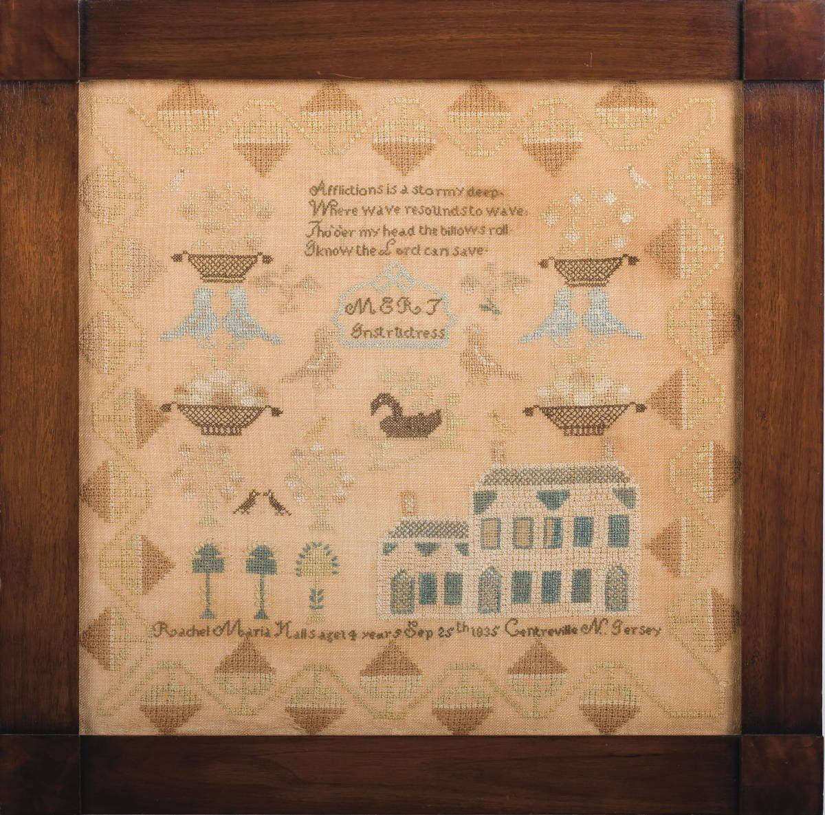 NEW JERSEY NEEDLEWORK SAMPLER BY RACHEL MARIA HALLS, AGE 4 YEARS, 1835. Amazing that a 4 year old wrought this sampler!